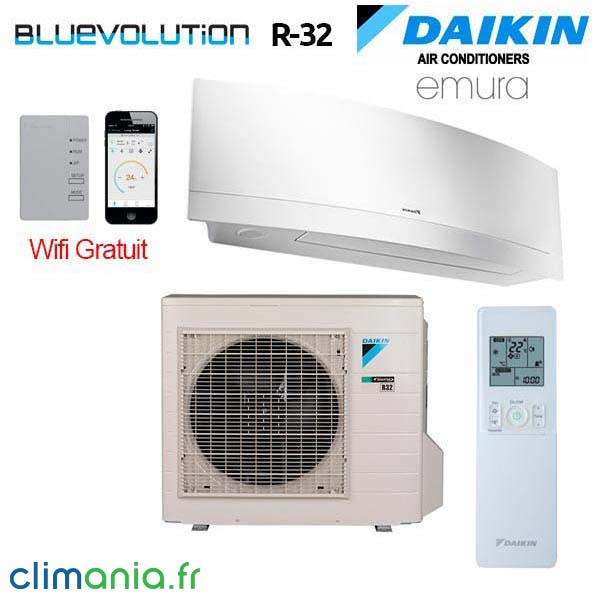 climatiseur mural daikin emura ftxj25mw bluevolution r32 wifi. Black Bedroom Furniture Sets. Home Design Ideas